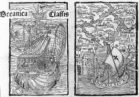 Drawing of the Santa Maria and a map describing the islands of Salvador, Espanola, Fernanda, Isabel and Conception, 1493 by (after) Columbus, Christopher - Reproduction Oil Painting