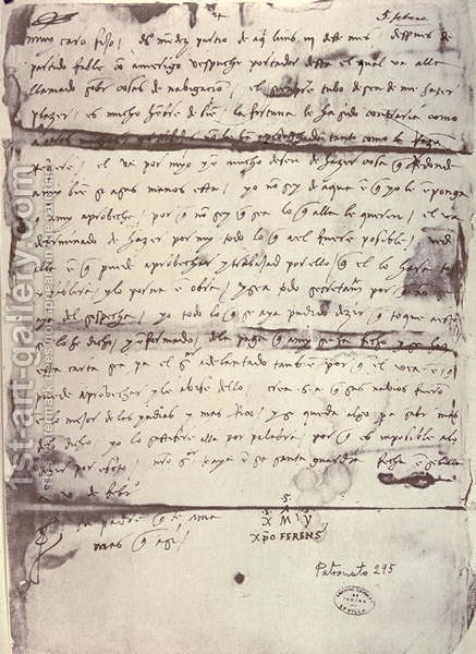 Letter written to Columbus' son, Diego Colon (1479 80-1526) 5th February 1505 by (after) Columbus, Christopher - Reproduction Oil Painting