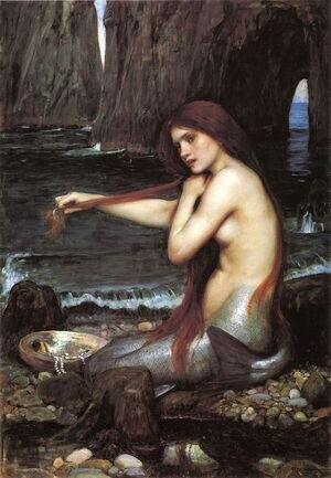 Famous paintings of Fantasy, Mythology, Sci-Fi: A Mermaid  1900