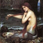 Oil painting reproductions - Ocean Scenes - John William Waterhouse: A Mermaid  1900