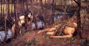 Famous paintings of Trees: A Naiad  1893  also known as Hylas with a Nymph