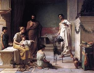 Reproduction oil paintings - Waterhouse - A Sick Child brought into the Temple of Aesculapius  1877