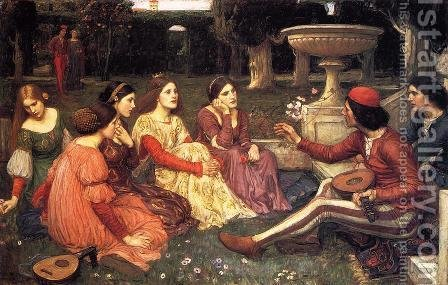 A Tale from the Decameron 1916 by Waterhouse - Reproduction Oil Painting