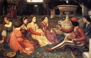 Reproduction oil paintings - Waterhouse - A Tale from the Decameron 1916