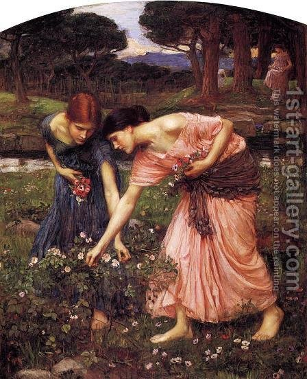 Waterhouse: Gather ye Rosebuds while ye may  1909 - reproduction oil painting