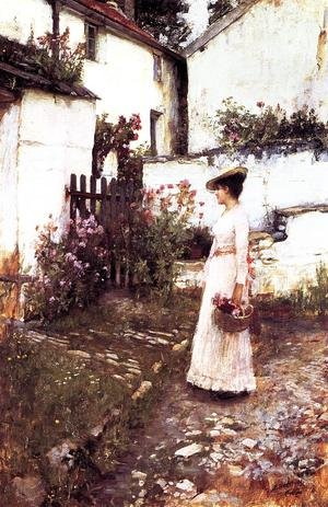 Reproduction oil paintings - Waterhouse - Gathering Summer Flowers in a Devonshire Garden  1893-1910