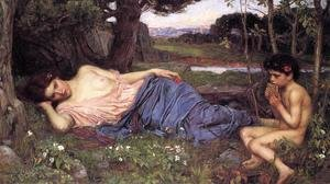 Reproduction oil paintings - Waterhouse - Listening to My Sweet Pipings  1911