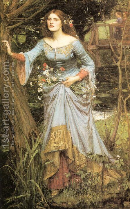 Ophelia  1910 by Waterhouse - Reproduction Oil Painting