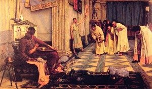 Pre-Raphaelites painting reproductions: The Favourites of the Emperor Honorius  1883