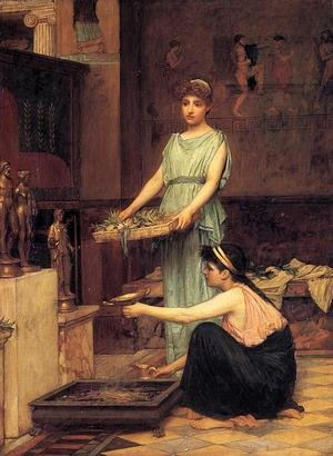 Pre-Raphaelites painting reproductions: The Household Gods  1880