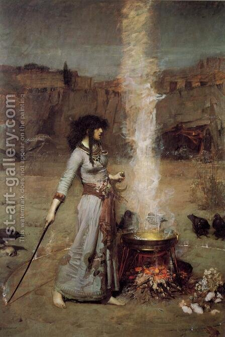 Waterhouse: The Magic Circle  1886 - reproduction oil painting