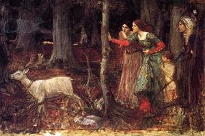 Reproduction oil paintings - Waterhouse - The Mystic Wood  1914-17