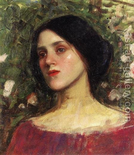 The Rose Bower  1910 by Waterhouse - Reproduction Oil Painting