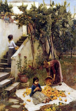 Pre-Raphaelites painting reproductions: The Orange Gatherers  1890