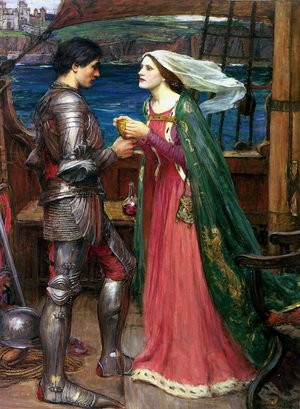 Pre-Raphaelites painting reproductions: Tristan and Isolde with the Potion  1916