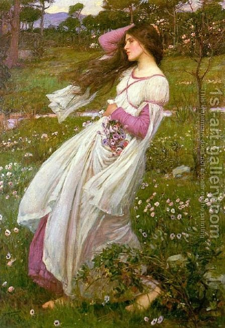 Waterhouse: Windflowers  1903 - reproduction oil painting