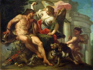 Famous paintings of Domestic Animals: Hercules Crowned by Fame