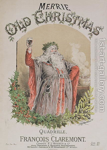Front cover of the music score for Merrie Old Christmas by Alfred Concanen - Reproduction Oil Painting