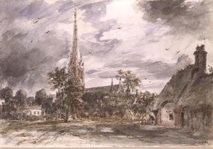 Reproduction oil paintings - John Constable - Salisbury Cathedral: with cottages