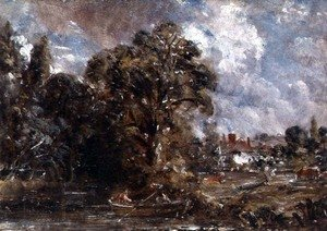 Reproduction oil paintings - John Constable - A Farmhouse near the water's edge