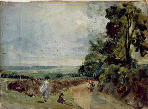 Reproduction oil paintings - John Constable - A Country road with trees and figures