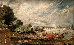 Reproduction oil paintings - John Constable - Waterloo Bridge from above Whitehall Stairs, c.1819