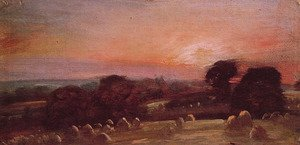 Reproduction oil paintings - John Constable - A Hayfield near East Bergholt at Sunset