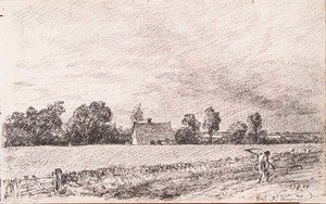 Reproduction oil paintings - John Constable - Cottages and road, East Bergholt