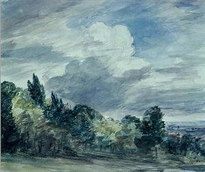 Reproduction oil paintings - John Constable - View over a wide landscape, with trees in the foreground, September 1832