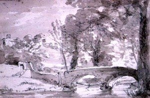 Reproduction oil paintings - John Constable - Bridge with Trees and Buildings, at Haddon