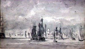 Reproduction oil paintings - John Constable - Shipping under a Cloudy Sky in the Thames