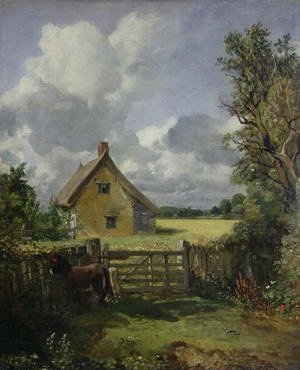 Famous paintings of Horses & Horse Riding: Cottage in a Cornfield, 1833