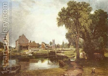Dedham Lock and Mill, 1820 by John Constable - Reproduction Oil Painting