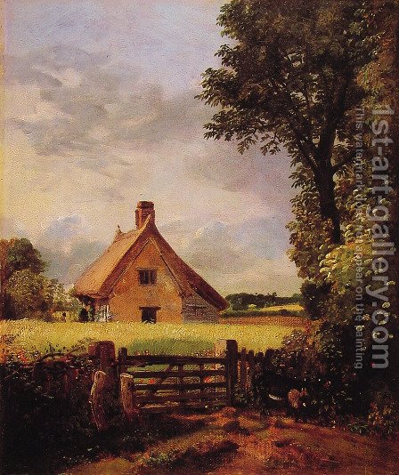 John Constable: A Cottage in a Cornfield, 1817 - reproduction oil painting