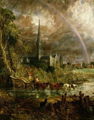 Famous paintings of Horses & Horse Riding: Salisbury Cathedral From the Meadows, 1831 (detail)