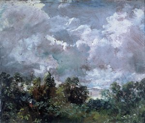 Famous Paintings in Victoria and Albert Museum, London, England: Study of Sky and Trees