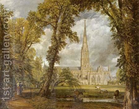 John Constable: View of Salisbury Cathedral from the Bishop's Grounds  c.1822 - reproduction oil painting