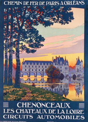Famous paintings of Ports: Poster advertising the Chateau de Chenonceau, c.1920