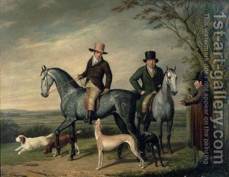 Two Gentlemen on Grey Hunters by Abraham Cooper - Reproduction Oil Painting