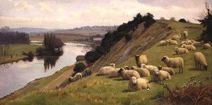 Realism painting reproductions: A Riverside Pasture with Sheep