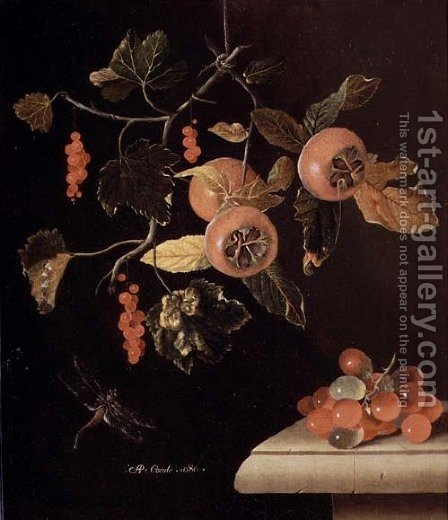 Still Life of Medlars, Redcurrants, Grapes and a Dragonfly, 1686 by Adriaen Coorte - Reproduction Oil Painting