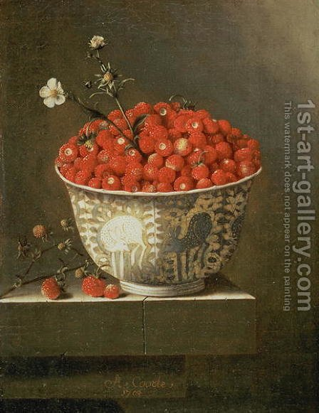 Still Life with Wild Strawberries in a Chinese Bowl by Adriaen Coorte - Reproduction Oil Painting