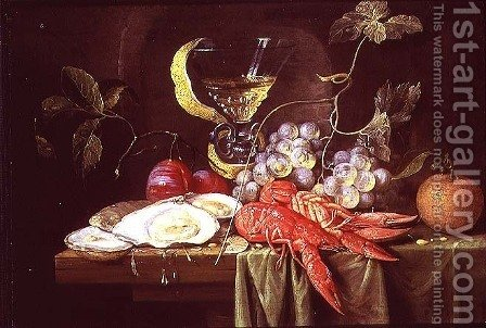 Still life with lobster, oysters and fruit by Alexander Coosemans - Reproduction Oil Painting