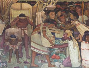 Famous paintings of Markets: The Great City of Tenochtitlan, detail of a woman selling vegetables, 1945