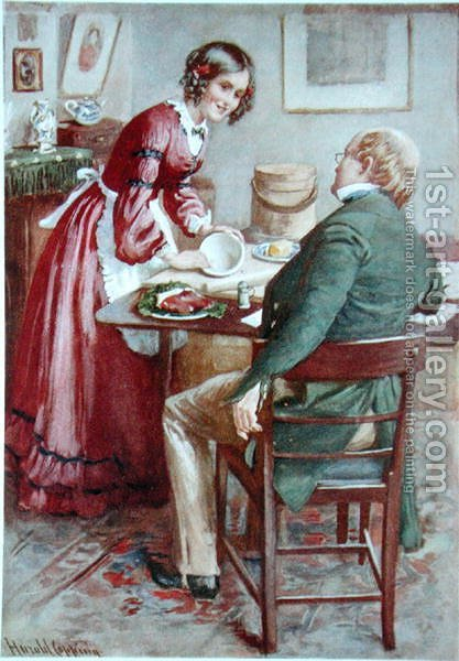 Ruth Pinch makes a Pudding, 1924 by Harold Copping - Reproduction Oil Painting