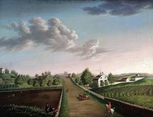 Famous paintings of Horses & Horse Riding: Ezekiel Hersey Derby Farm, c.1800