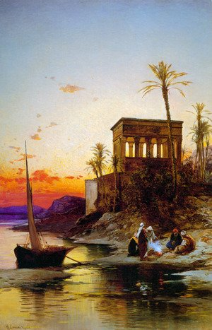 Reproduction oil paintings - Hermann David Solomon Corrodi - Camp Fire by the River, the Kiosk of Trajan, c.1880