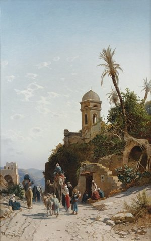 Hermann David Solomon Corrodi reproductions - The Departing Caravan, Bethanin, c.1880