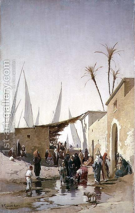 Hermann David Solomon Corrodi: A Village by the Nile - reproduction oil painting
