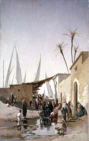 Reproduction oil paintings - Hermann David Solomon Corrodi - A Village by the Nile